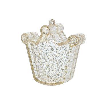 Plexi doosje kroon met glitter goud