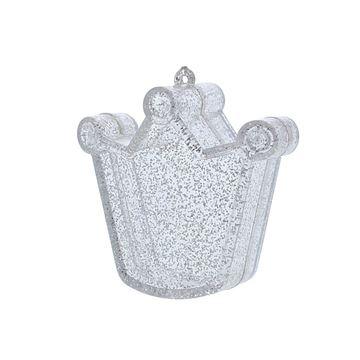 Plexi doosje kroon met glitter zilver
