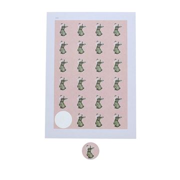 Sticker 4 cm konijn Muffin zalm