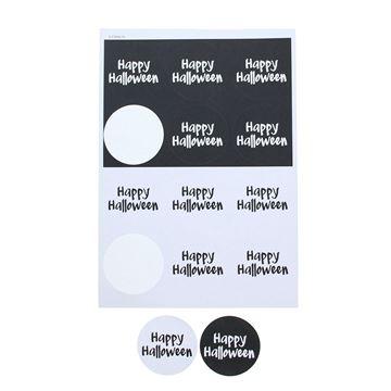 Sticker 6,35 cm Happy Halloween zwart - wit