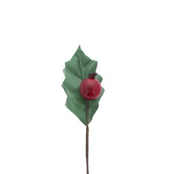 1 hulstblad groen met 1 rode bes