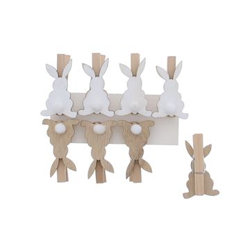 Pompon konijn speld wit
