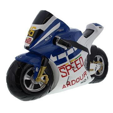 Racemotor presentatie blauw