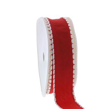 Lint Claus 25 mm x 15 m kleur 65 wit-rood