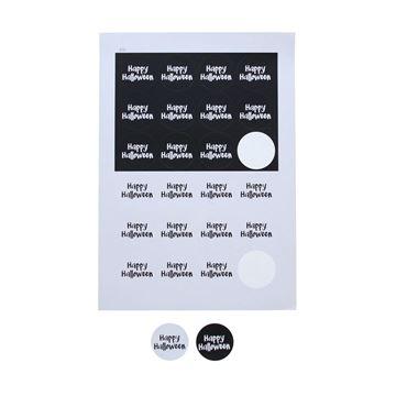 Sticker 4 cm Happy Halloween zwart - wit