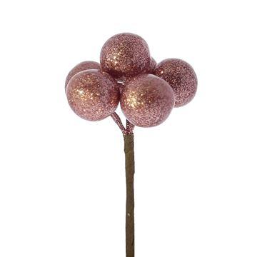 Kerstbal op stick 20mm blinkend roze