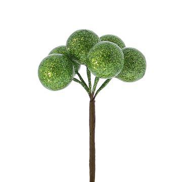 Kerstbal op stick 20mm blinkend groen