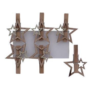 Shiny star ster speld naturel-goud