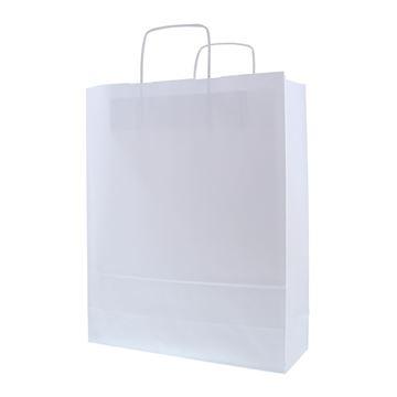 Draagtas papier 32 x 12 x 40 cm witte kraft 90g