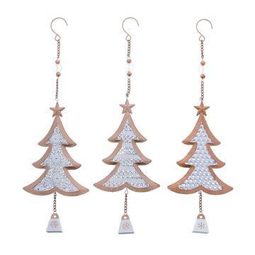 Rosé brons kerstboom hanger medium