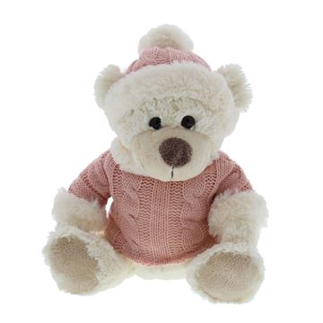 Beer Teddy met muts en trui licht roze medium