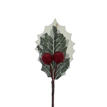 1 hulstblad met 3 rode bessen