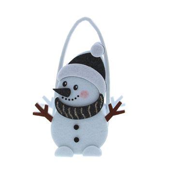 Sneeuwman Black nose mandje met oor medium