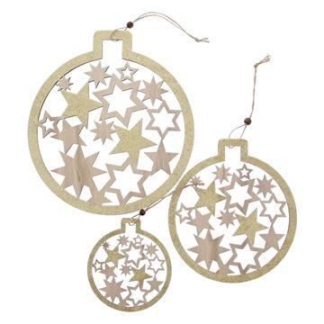 Shiny star kerstbal deco hanger naturel-goud S/3