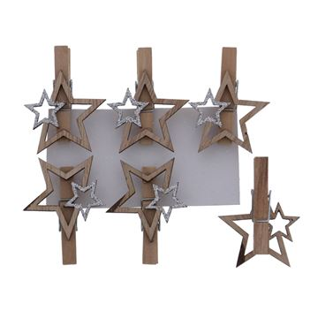 Shiny star ster speld naturel-zilver