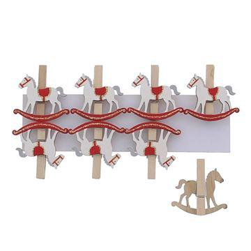 Schommelpaard wit rood speld