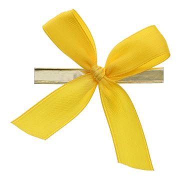 Strik met clip 6x6cm 2 lussen 15mm  kleur 15 geel