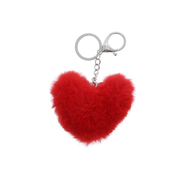 Pluizenhart sleutelhanger rood