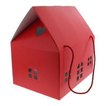 Huis Lino Rosso H=34 cm rood met koord
