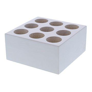 Vierkante blok voor 9 proefbuisjes wit