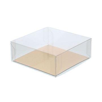 PVC doos met deksel  8 x 8 x 3 cm met goudkarton      Z111