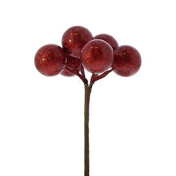 Kerstbal op stick 20mm blinkend rood