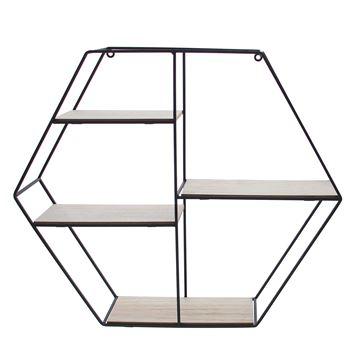 4-traps zeshoek in zwart metaal en naturel hout
