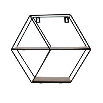 2-traps zeshoek in zwart metaal en naturel hout medium