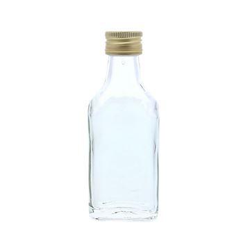 Glazen flesje rechthoekig 40ml met gouden dop