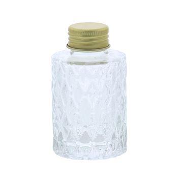 Glazen flesje fantasie 85ml met goudkleurige dop