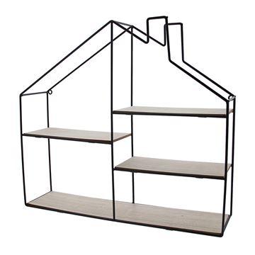 4-traps huis in zwart metaal en naturel hout
