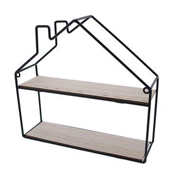 2-traps huis in zwart metaal en naturel hout medium