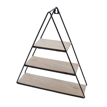 3-traps driehoek in zwart metaal en naturel hout medium
