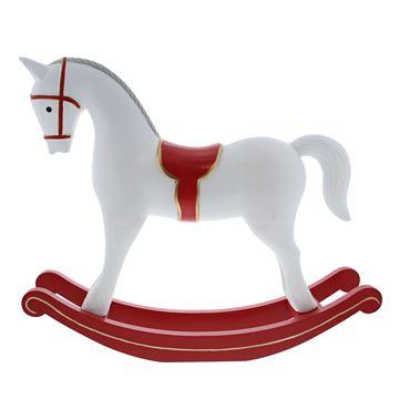 Schommelpaard wit rood deco GM