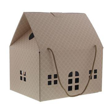 Huis Matelasse H = 34 cm met koord creme roze
