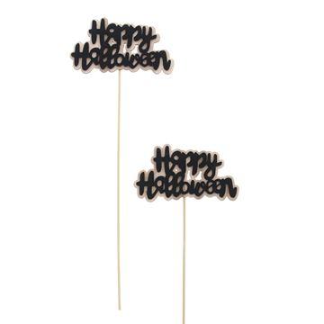 Happy Halloween op stick 30cm zwart