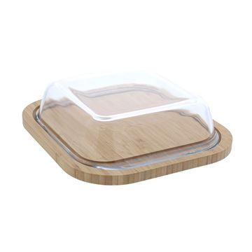 Schaal vierkant op bamboe plank 1100ml