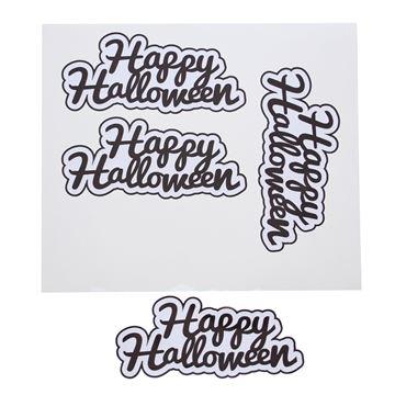 Sticker blinkend Happy Halloween zwart GM