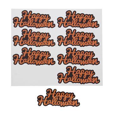 Sticker blinkend Happy Halloween oranje medium