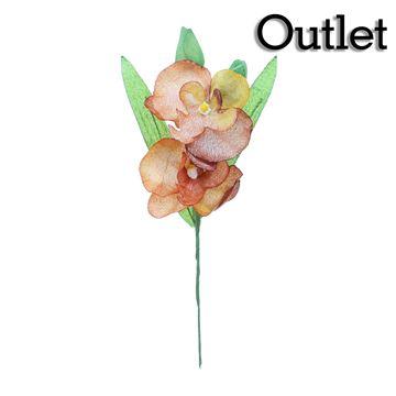 Orchidee 3 bloemen groen/bordeaux/goud
