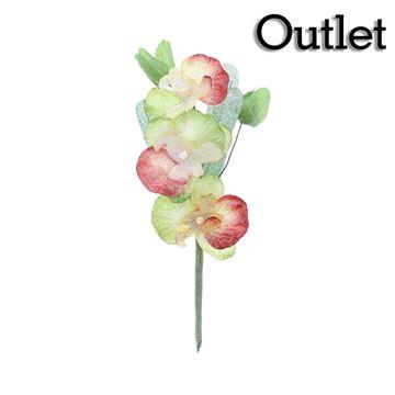 Orchidee 3 bloemen rood/goud/groen